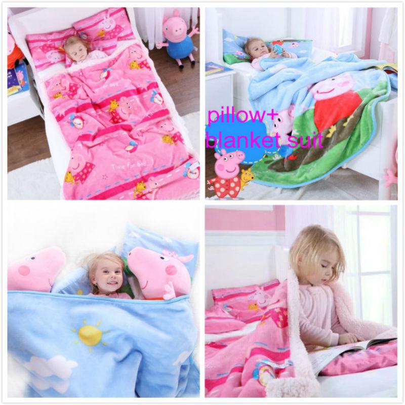 Genuine Peppa Pig Mud Series Cotton Pillow + Blanket 140cm Quilt+110cm Pillow Set Plush Quilt Autumn /winter Kids Toy