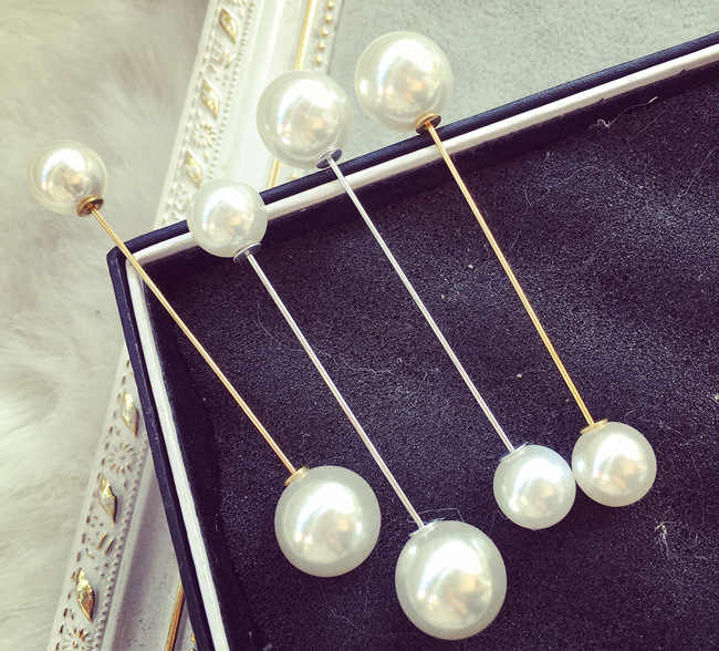 Size Double Head Simulation Pearl Fashion Brooch Jewelry Female Word Pin Collar Card Cardigan Scarf Button Pin Bridal Brooch