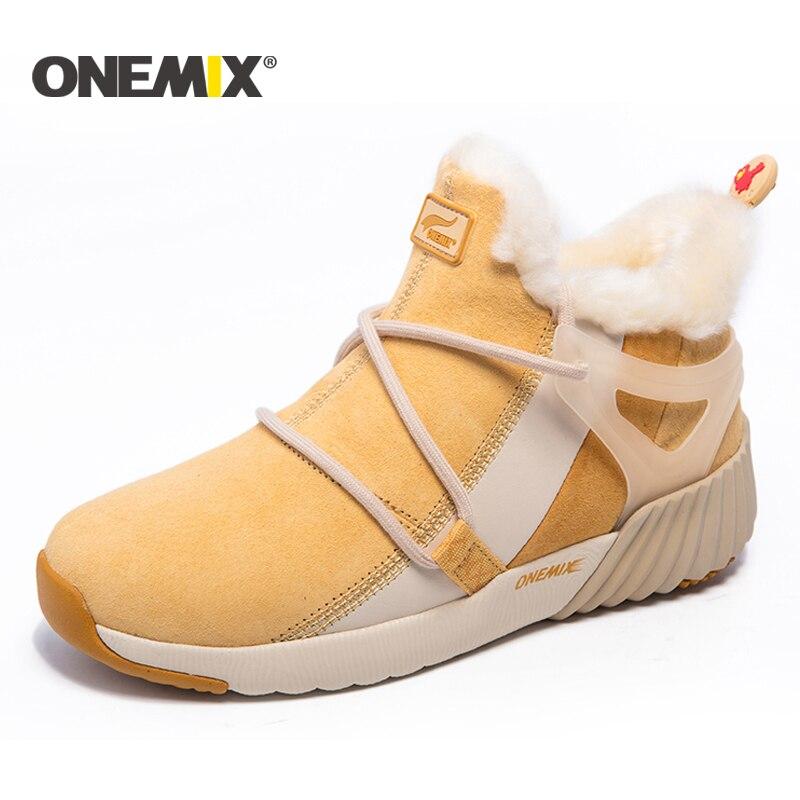 ONEMIX New Winter Running Shoes women Comfortable Women s boots Warm Wool Sneakers men Outdoor Unisex