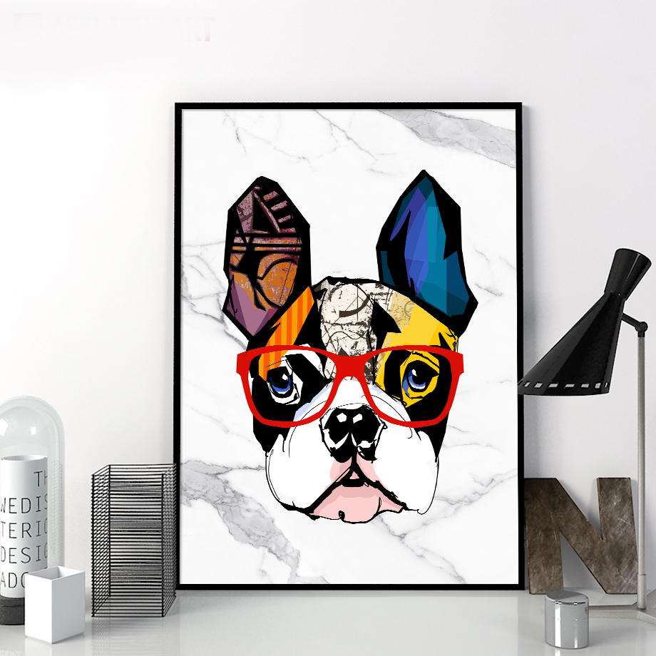 e22fbe4ad0716 Abstract Marble Bulldog Graffiti Wall Art Canvas Painting Nordic Posters  And Prints Pop Art Wall Pictures