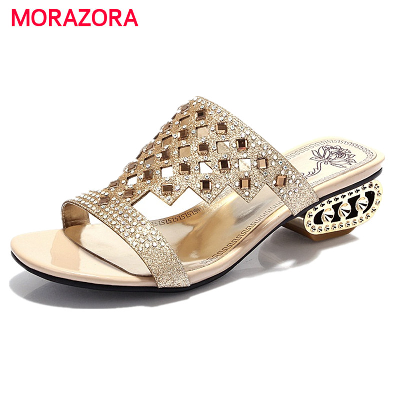 MORAZORA 2017 Rhinestone open-toed low heels shoes woman summer PU solid sandals women shoes sexy big size 34-43