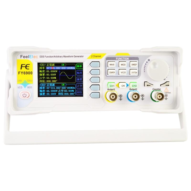 Новейший двухканальный DDS генератор сигналов FY6900, 20 МГц, произвольная форма, VCO, частота, подметальная машина, счетчик, 2019