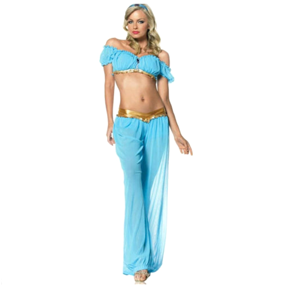 Silk Belly Dancing Dance Dress Sexy Women Soft Blue Long Pants