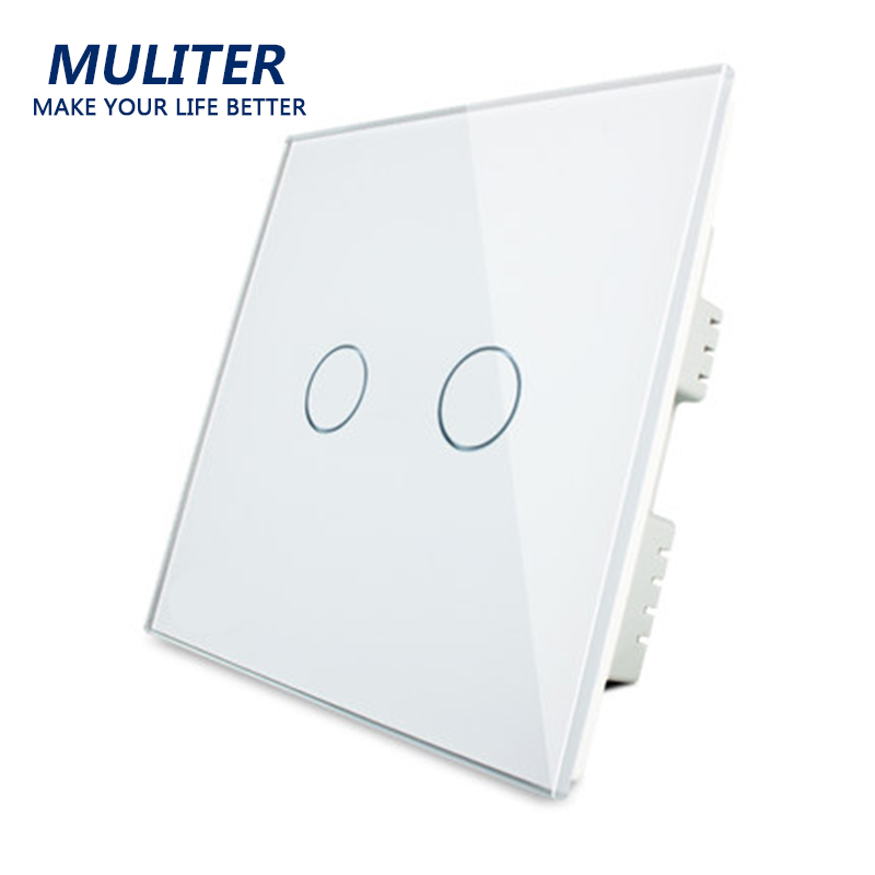 UK Standard, Luxury Crystal Glass Panel, Touch Switch, Wall Switch, 2 Gang 1 Way Switch, AC110~250V, LED indicator, Smart home makegood uk standard 2 gang 1 way smart touch switch crystal glass panel wall switch ac 110 250v 1000w for light led indicator