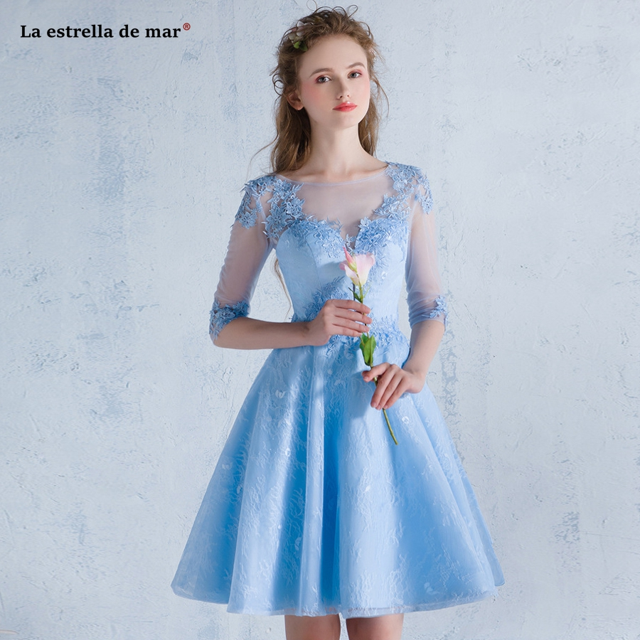 Us 600 20 Offvestido Dama De Honra Adulto 2019 New Lace Half Sleeve Back A Line Light Blue Red Burgundy Bridemaid Dresses Short Plus Size In
