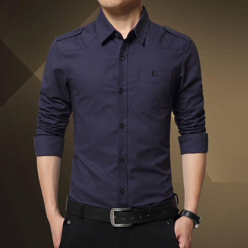 2018 Mænds Epaulette Shirt Fashion Full-Sleeve Epaulet Shirt - Herretøj - Foto 2