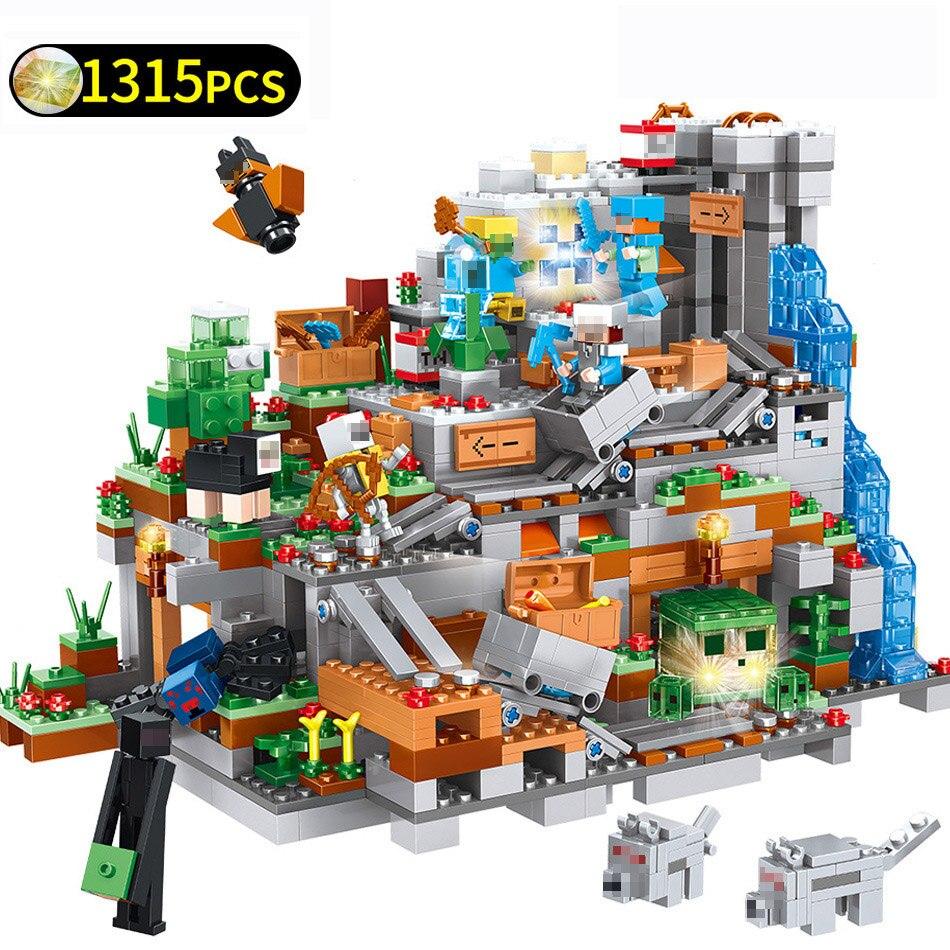 Mon Monde Série Montagne Grotte Mécanisme blocs de construction pour château Ensembles Compatible Legoings Minecraftd Briques Jouets pour Enfants Cadeau