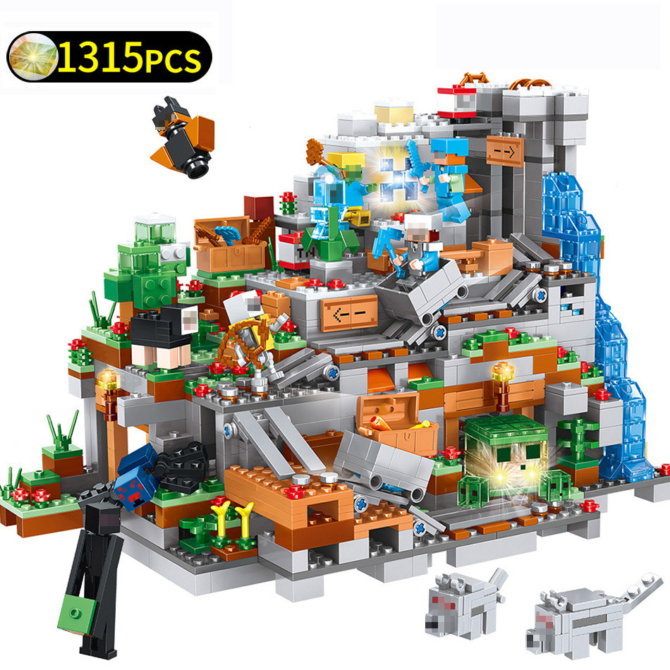 My World Series Mountain Cave Mechanism Castle Building Blocks Sets Compatible Legoings Minecraftd Bricks Toys for Children GiftMy World Series Mountain Cave Mechanism Castle Building Blocks Sets Compatible Legoings Minecraftd Bricks Toys for Children Gift
