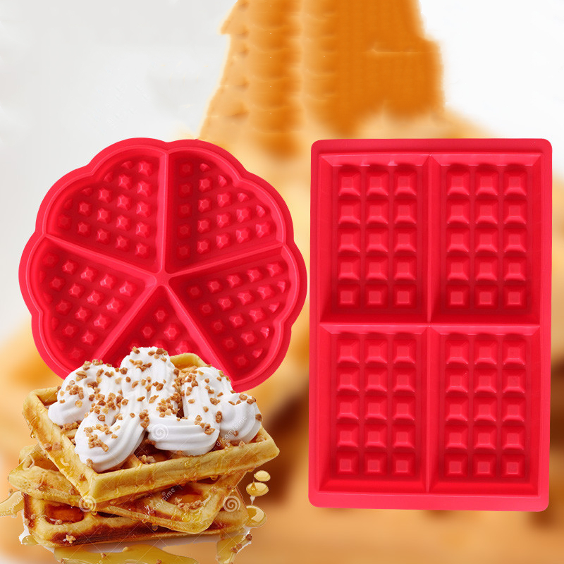 Waffle Molds Non-stick Silicone 4-Cavity Waffles Cake Chocolate Mold Donut Maker Fondant Baking Molds Cake Decorating Mould Pan image