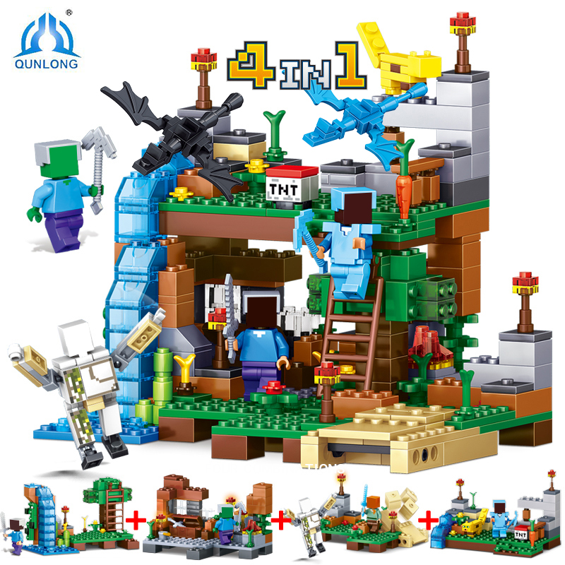 Qunlong 4 in 1 MY WORLD Action Toy Figures Building Blocks Compatible Legos Minecraft City Educational Enlighten Bricks For Kids 2 sets jurassic world tyrannosaurus building blocks jurrassic dinosaur figures bricks compatible legoinglys zoo toy for kids