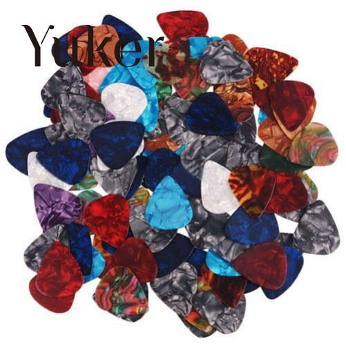 Yuker 50 Pcs Acoustic Electric Guitar Bass Celluloid Picks Plectrum Smooth Multicolor two way regulating lever acoustic classical electric guitar neck truss rod adjustment core guitar parts