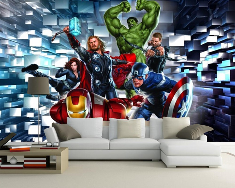 Custom children wallpaper, 3 d hero alliance murals for children room living room TV wall paper DE parede vinyl which wallpaper wallpaper for walls 3 d modern trdimensional geometry 4d tv background wall paper roll silver gray wallpapers for living room