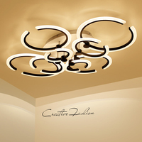Black White Modern Chandelier Living Room Bedroom Acrylic Led Chandelier Lighting 4 6 8 10 Rings