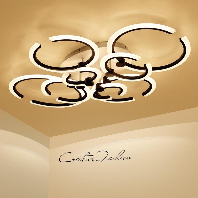 Schwarz/weiß Moderne Kronleuchter Wohnzimmer Schlafzimmer Acryl Led  Kronleuchter Beleuchtung 4/6/8/10 Ringe Glanz Lamparas Colgantes