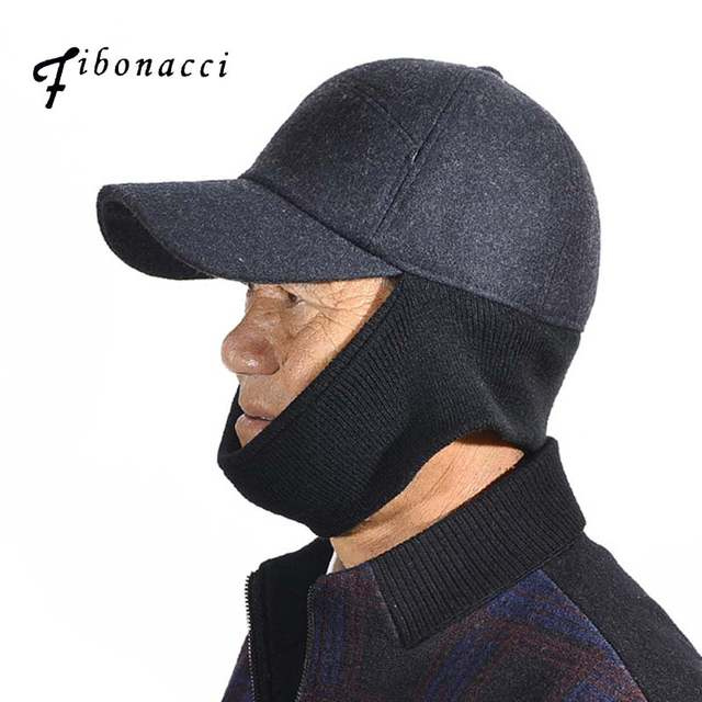Online Shop Fibonacci A variety of ways to wear men s winter hat warm ear  protection thick middle aged elderly knit wool blend baseball cap  5939080bf7e