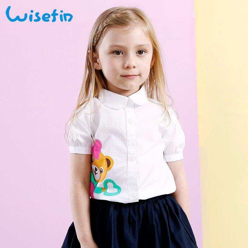 5710342f8640c Wisefin Filles Top Imprimé Bébé Filles T-shirt D été Enfant vêtements 2018  Blanc Blouses Pour Fille Turn-Down Collar Enfants Tee chemise