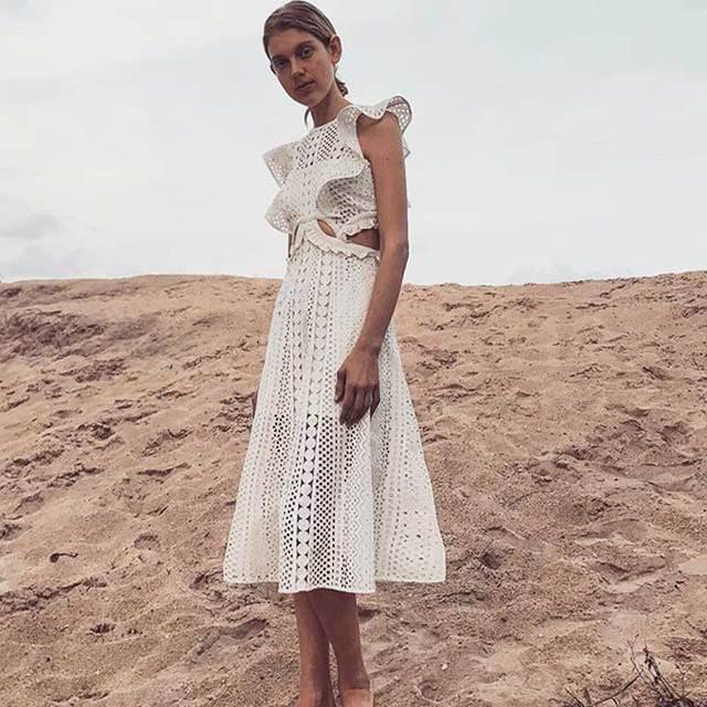 18adda9de7 Boho Inspirowane Haftowane Wycinanka Midi Sukienka Biały sheer lace  tapicerka lato suknie potargane rękawem w stylu