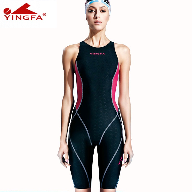 Yingfa  one piece competition knee length waterproof chlorine low resistance women's swimwear sharkskin swimsuit free shipping competition racing one piece swimsuit