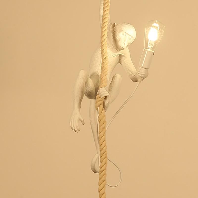 2018 Modern Resin Monkey suspension luminaire Loft Hemp Rope Pendant Light for Home Lighting Bar Cafe Hanging Edison/led lamp vintage loft pendant light designer monkey lamp modern retro restaurant bar cafe shop decoration lamp resin hemp rope light