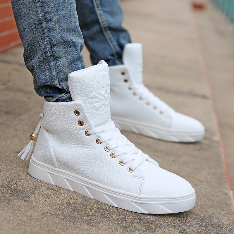 2016 mens white high top shoes personality skull mens