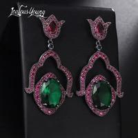 2017 New Luxury Flower Bridal Drop Earrings For Wedding Red Green Oval Zircon Gothic Punk Rock