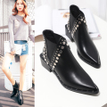 Winter Autumn Women Shoes 2016 Shoes PU Leather Pointed toe Rivets Sqaure Heels Ankle Boots Slip On Short Ladies Shoes Black 39