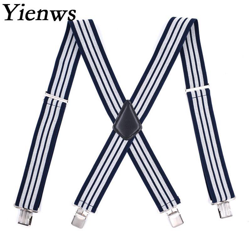 Yienws Navy White Striped Suspenders for Men 5CM Widen Lengthen Suspenders Man X-Sharp 4 Clip Pants Brace Strap 120CM YiA051