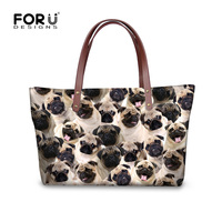 FORUDESIGNS Funny Pug Dog Husky Print Puzzle Women Handbags Top Handle Bag For Ladies Brand Designer