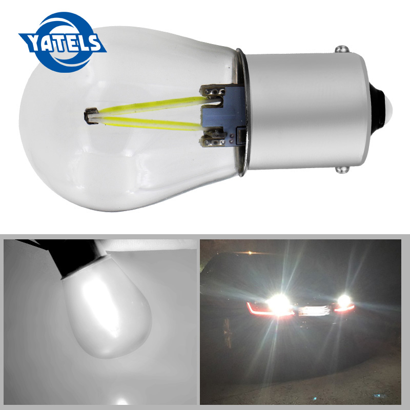 2018 Newest P21W LED ba15s 1156 led filament chip car light S25 auto vehicle reverse turning bulb lamp Turn Signal DRL white 12v ba15s p21w s25 3w 1156 led steering light car tail bulb car turn signal auto reverse lamp daytime running light yellow py21w