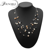 Boho natural freshwater pearl necklace women,wedding trendy multi layer statement colorful gift