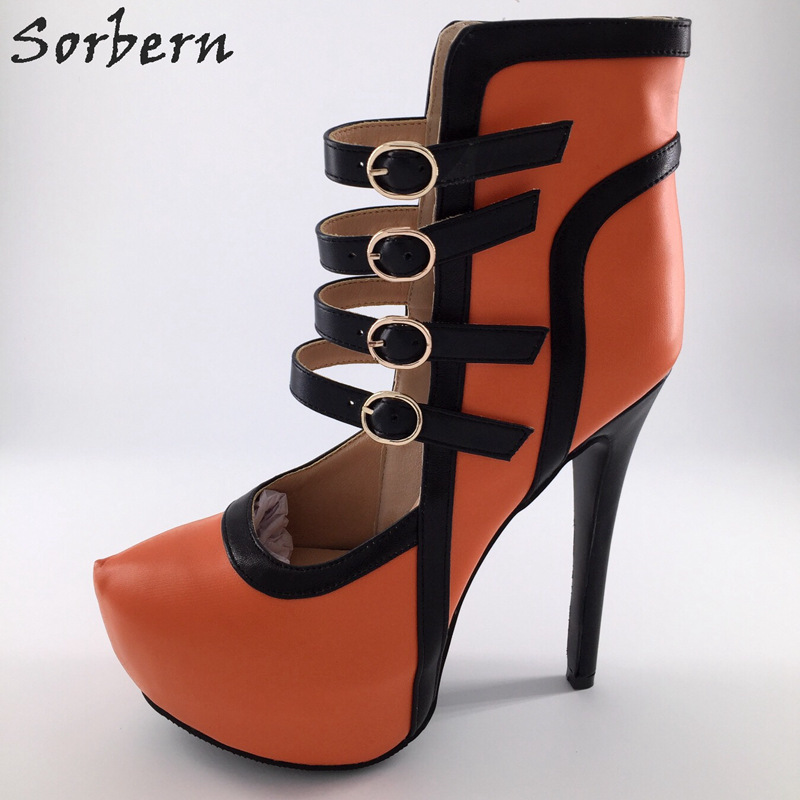 Sorbern High Heels Women Pumps Designer Shoes Women Luxury 2017 Sexy Shoes Buckle Strap PU Ladies Shoes With Heels Plus Size