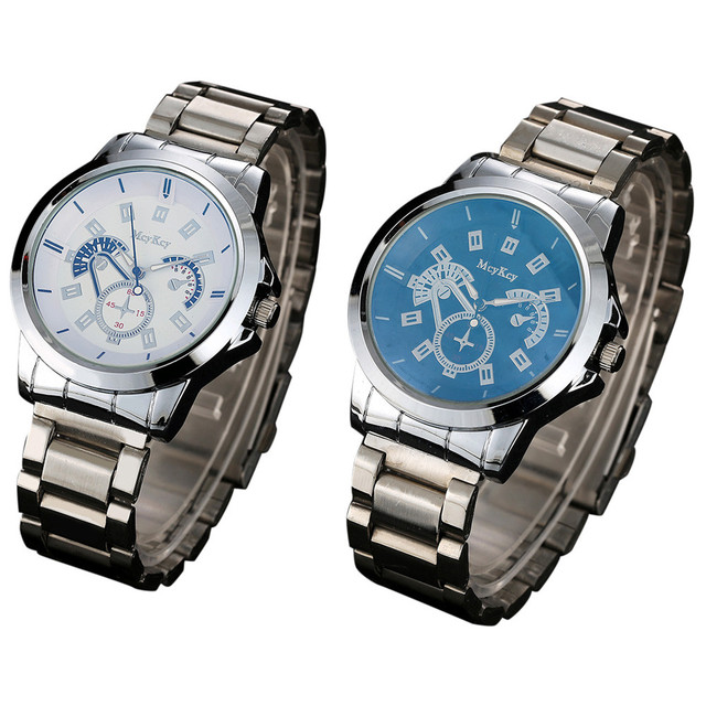 31de345ae54 McyKcy Mens Silver Stainless Steel Date Quartz Analog Sport Wrist Watch  relojes hombre Vintage Relogio Feminino