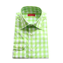 whiteapple green colored block plaid manu0027s custom tailorcut business casual dress - Apple Green Color