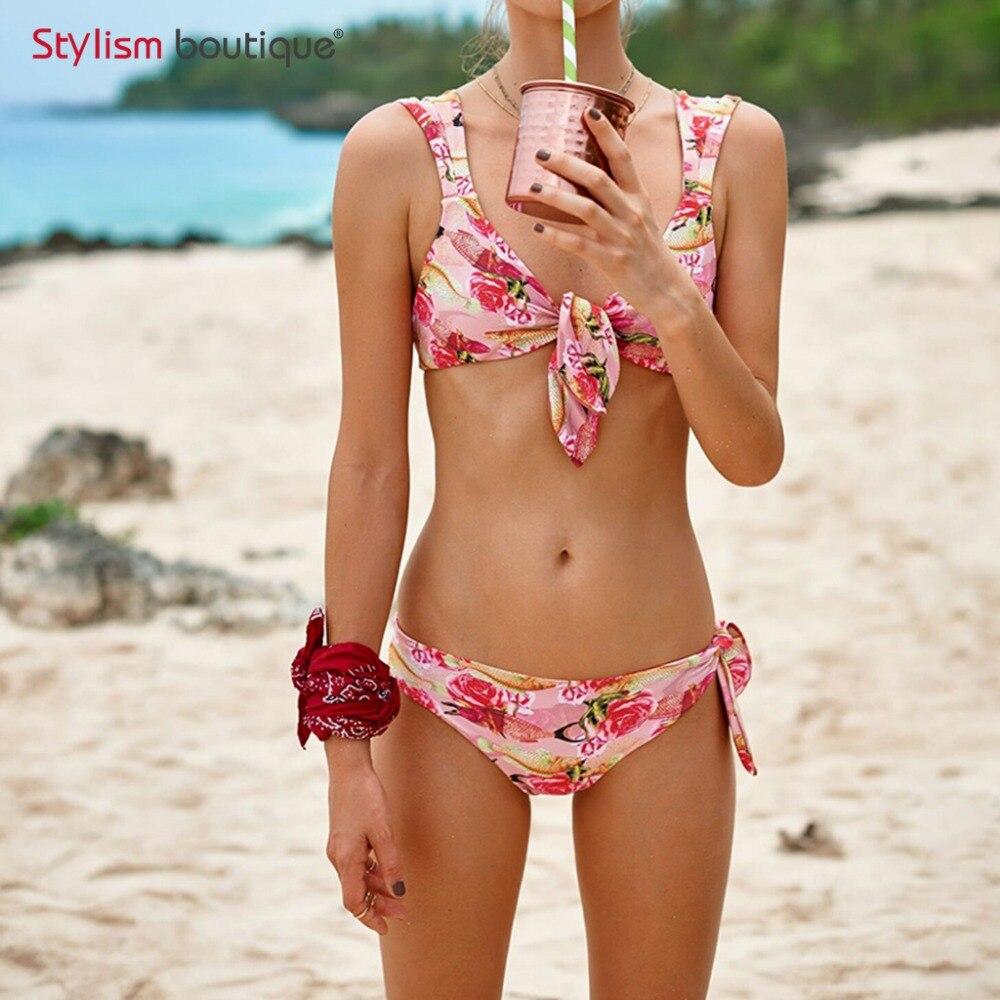 2018 Newest Floral Bikini Set Bandage Bathing Suit Sexy Swimsuit Women Swimming Suits Beachwear Female Retro Swimwear Bikinis
