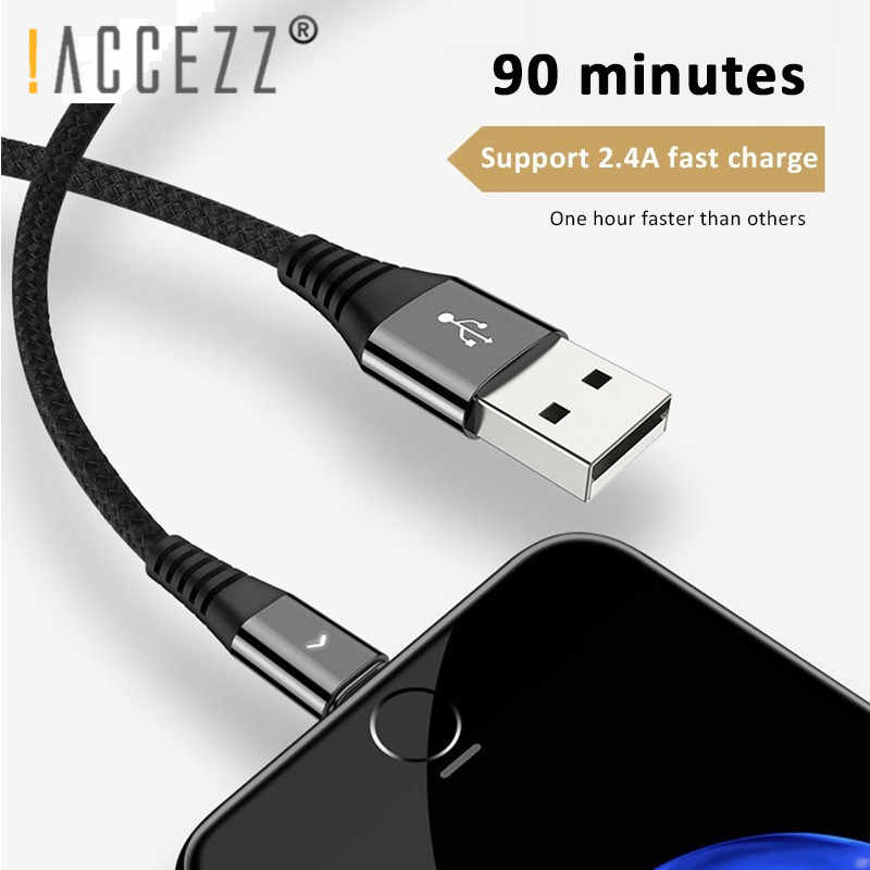 ! ACCEZZ 0.3 m 1.2 m kabel USB do transmisji danych dla iPhone 7 8 Plus X Xs Max XR X 5S iPad tablet szybkie ładowanie Nylon oświetlenie 8 Pin krótki kabel