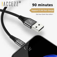 !ACCEZZ 0.3m 1.2m Data USB Cable For iPhone 7 8 Plus X Xs Max XR 5s iPad Tablet Fast Charging Nylon Lighting Pin Short
