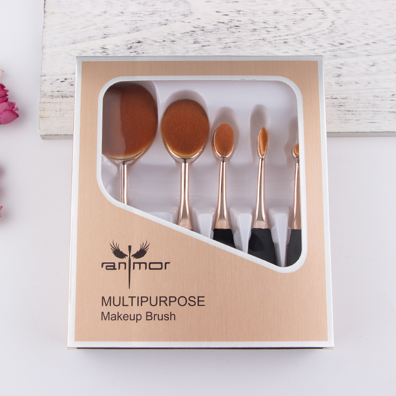 5 Pieces Oval Makeup Sikat Set Hadiah Kuas Makeup Profesional Yayasan Powder Make Up Brushes Kit