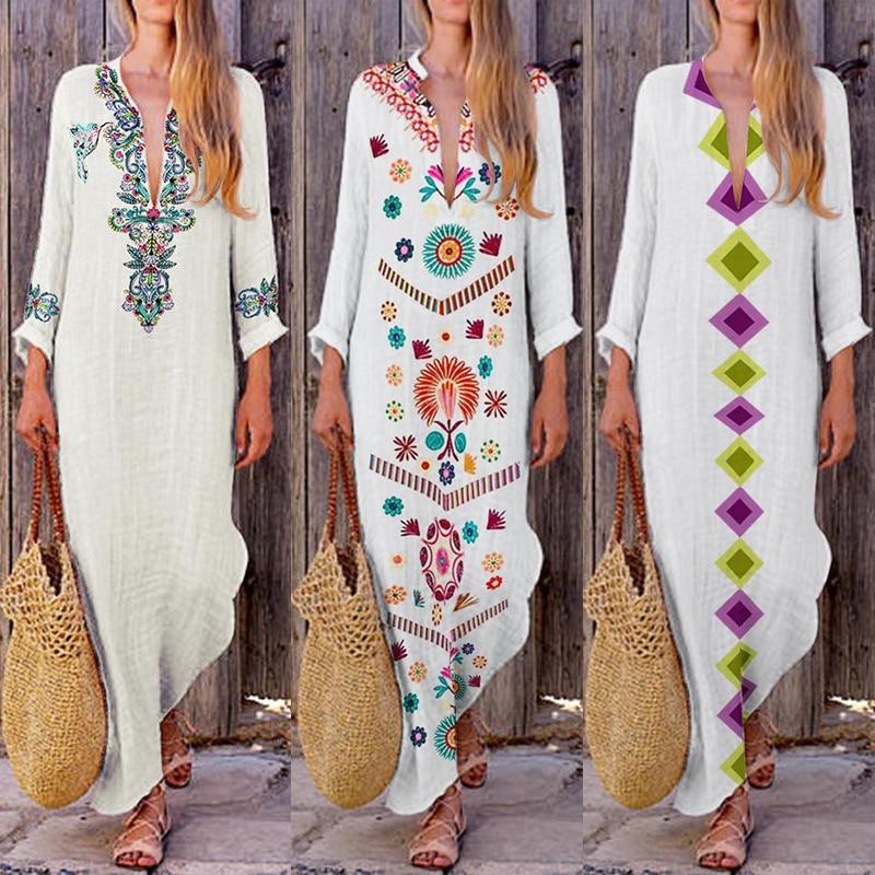 cc0027a239c New Fashion Women Floral Printed Asymmetrical Vintage Maxi Dress Ethnic  Style Long Sleeve Dress Loose Charming V Neck Dresses