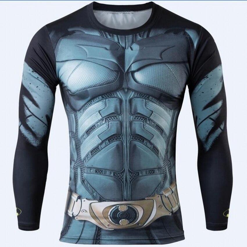 2016 Fitness Men Quick Dry T-shirt 3D Print Ironman Superman Captain America Marvel Comics Mens Style Long Sleeve T shirt