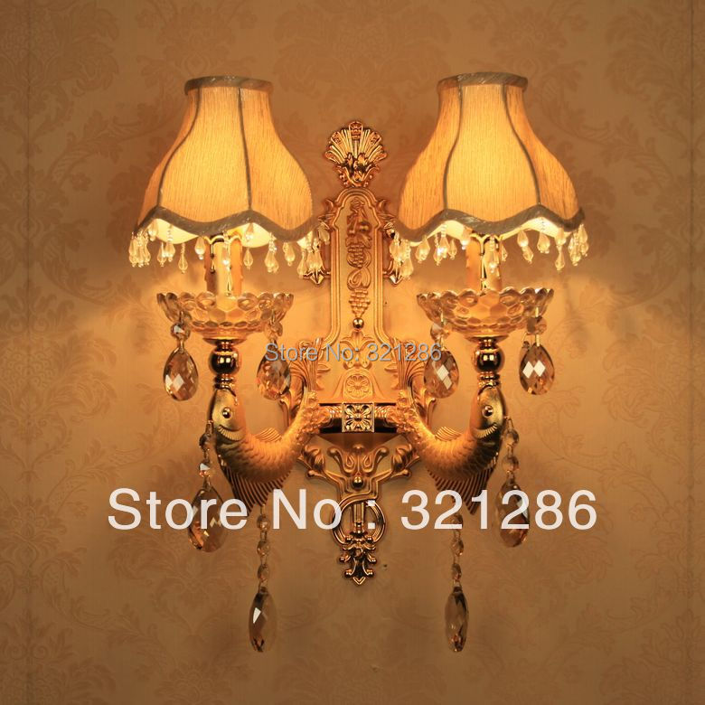 Double heads LED E14 candle Fish wall lamp k9 crystal wall lamp Golden indoor wall light