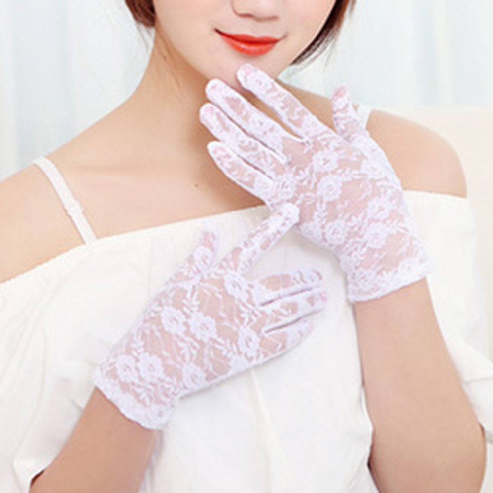 White Black Short Wedding Gloves Finger Bridal Gloves For Women Bride Lace Gloves Luva De Noiva Wedding Accessories
