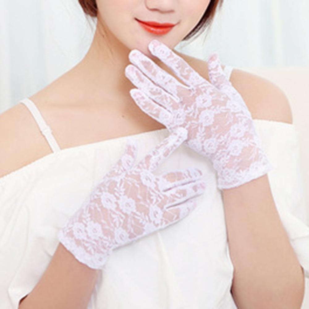 White Black Short Wedding Gloves Finger Bridal Gloves For Women Bride Lace Gloves Luva De Noiva Wedding Accessories