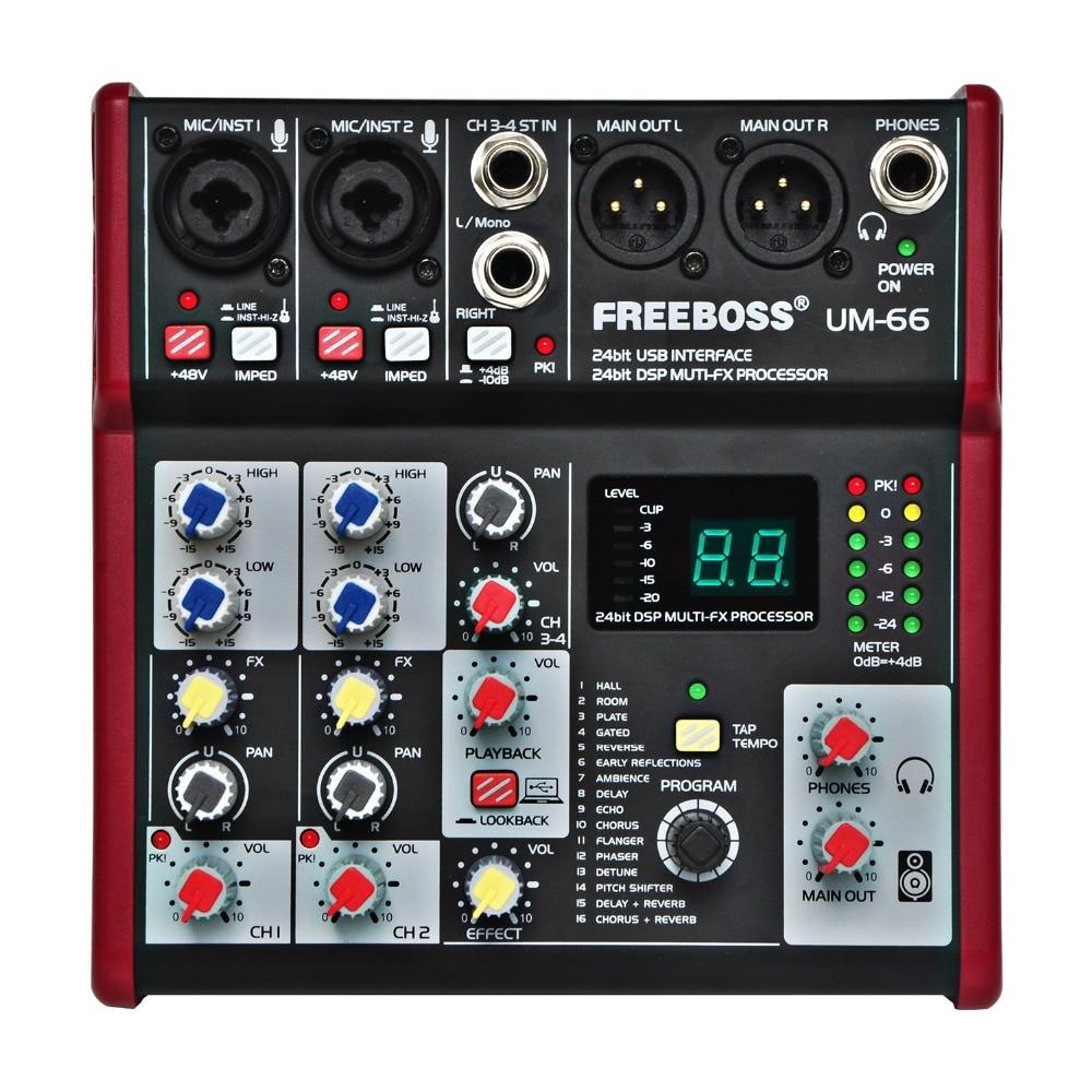 UM-66 4 Canali 16 Effetti Digitali 24 Bit del Processore Dsp Scheda Audio (Sala camera Piastra Delay Echo) registrare Audio Mixer