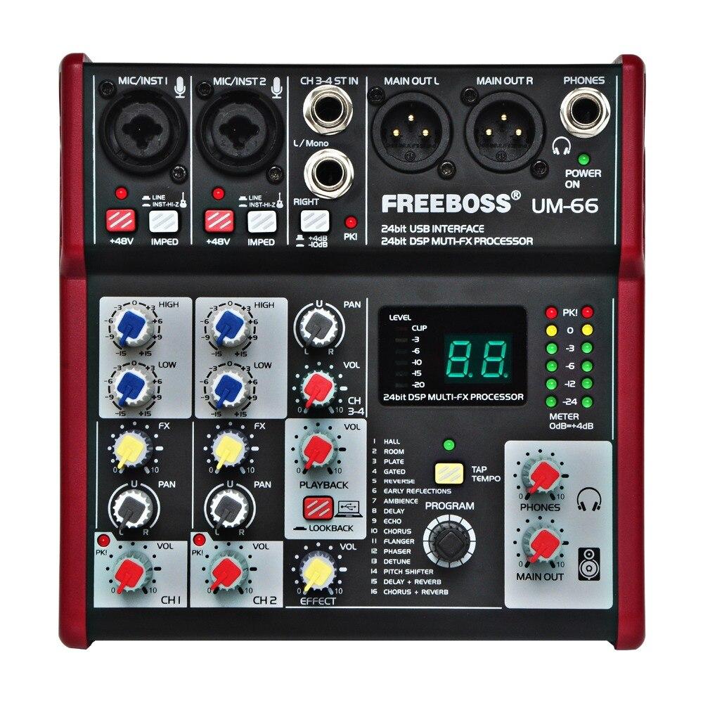 UM-66 4 canaux 16 effets numériques 24 bits carte son processeur Dsp (écho de retard de plaque de salle de Hall) enregistrement Audio table de mixage