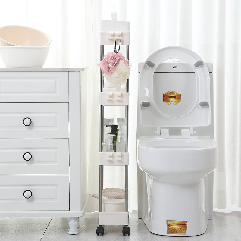 Bathroom Quilted Storage Rack Four Layers Kitchen Narrow Cabinet Living Room Foor-standing Gap Shelf Home Furniture