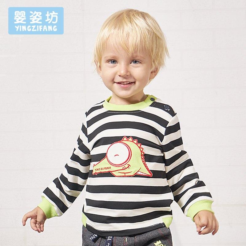 Spring New Full O-neck Character Stripe Cartoon Dragon Printed Sleeve Sweatshirt Boys Pullover Top Shirts Clothing Tees