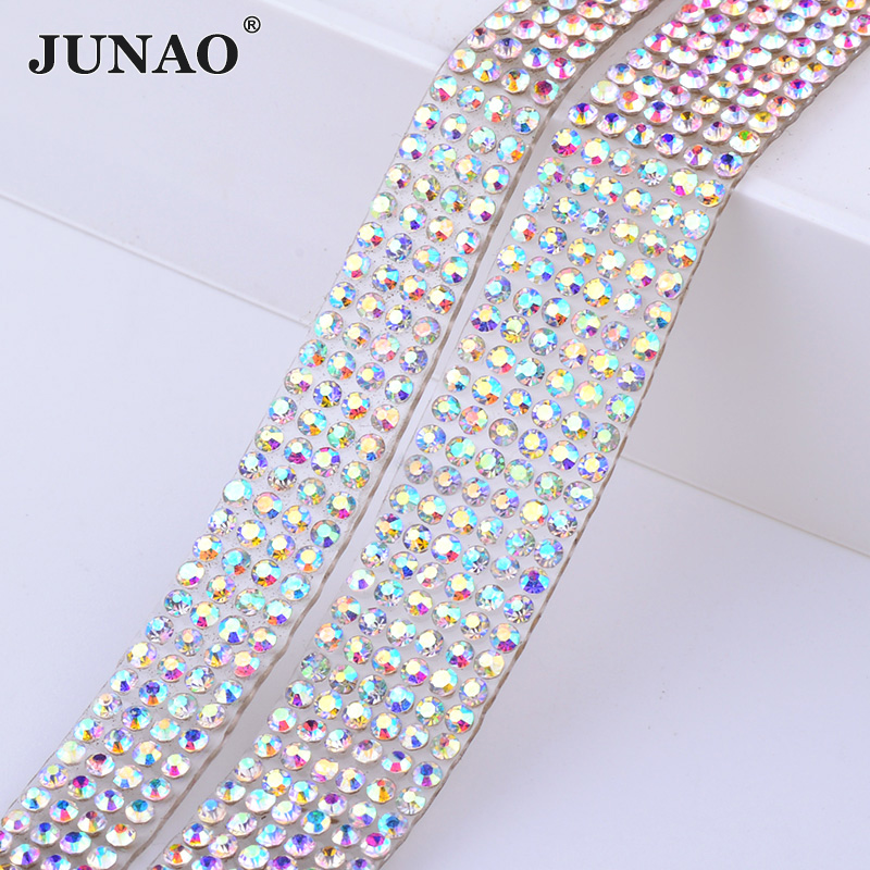 Detail Feedback Questions about JUNAO 5 Yard Hotfix Crystal AB Rhinestones  Trim Chain Glass Crystal Fabric Ribbon Strass Appliques Banding for Clothes  ... 638172da88d2
