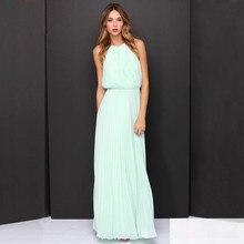 цены Summer Empire Vintage Long Party Dress Elegant Halter Backless Chiffon Dress Women Sleeveless Maxi Dress