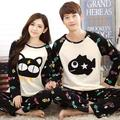 2016 New Cat eat Fish style Lovers' Cartoon Sleepwear Pajamas set Long sleeve Nightwear  M/L/XL/XXL