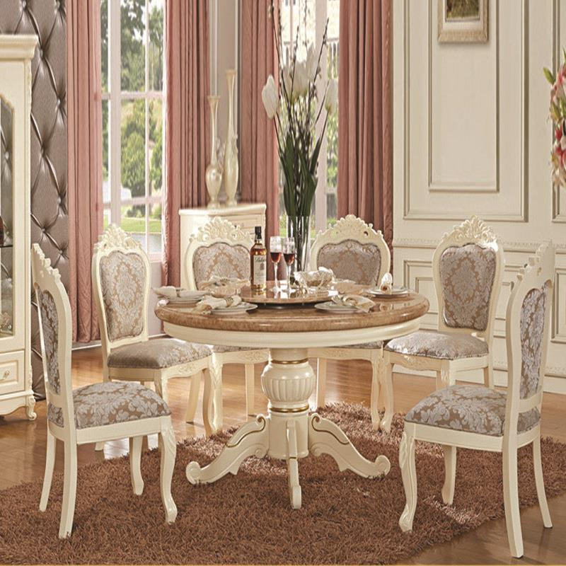 China Guangzhou Ivory White Handmade Wood Dinning Room Sets European Solid Dining Tables And Chairs Combination